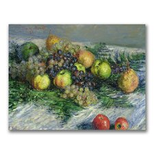 """Still Life with Pears and Grapes"" Canvas Art"