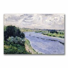 """""""Barges on the Seine"""" by Pierre Auguste Renoir Painting Print on Canvas"""