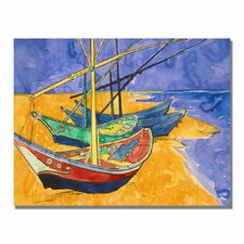 """Fishing Boats on the Beach"" by Vincent Van Gogh Painting Print on Canvas"