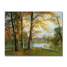 """A Quiet Lake"" by Albert Bierstadt Painting Print on Canvas"
