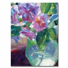 <strong>Trademark Fine Art</strong> 'Pink Flowers in Green Vase' Canvas Art