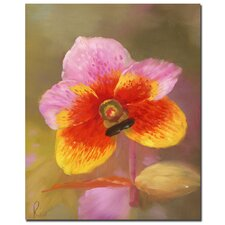 'Orange-Pink Orchid' Canvas Art