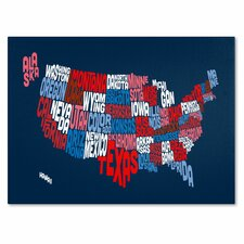 """USA States Text Map 2"" by Michael Tompsett Textual Art on Wrapped Canvas"