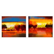 'Red Dawn I and II' by Miguel Paredes 2 Piece Painting Print on Canvas Set (Set of 2)