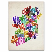 <strong>Trademark Fine Art</strong> 'Ireland Text Map 3' Canvas Art