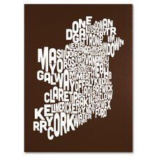 'Ireland Text Map' Canvas Art