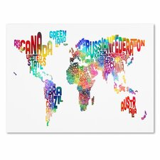 """World Text Map"" by Michael Tompsett Textual Art on Wrapped Canvas"