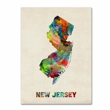 <strong>Trademark Fine Art</strong> 'New Jersey Map' Canvas Art