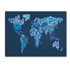 <strong>Trademark Fine Art</strong> 'World Text Map 2' Canvas Art
