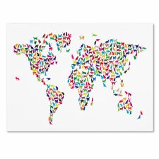 <strong>Trademark Fine Art</strong> 'Cats World Map' Canvas Art