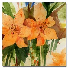 'Tiger Lilies' by Sheila Golden Painting Print on Canvas