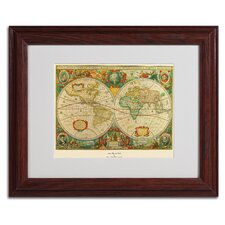 "<strong>Trademark Fine Art</strong> ""Old World Map Painting"" Framed Art"
