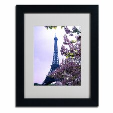 "<strong>Trademark Fine Art</strong> ""Eiffel Tower with Blossoms"" Framed Art"