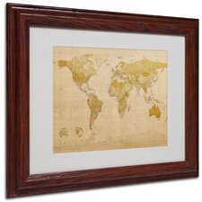 "<strong>Trademark Fine Art</strong> ""World Map Antique"" Matted Framed Art"