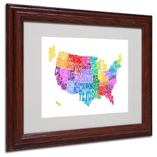 "<strong>Trademark Fine Art</strong> ""USA States Text Map 3"" Matted Framed Art"
