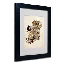 """Ireland Text Map 2"" Matted Framed Art"