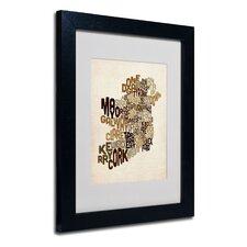 """""""Ireland Text Map 2"""" by Michael Tompsett Framed Textual Art"""