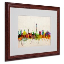 """Paris Skyline"" Matted Framed Art"