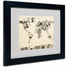 "<strong>Trademark Fine Art</strong> ""Old Clocks World Map"" Matted Framed Art"
