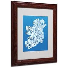 Ireland Text Map by Michael Tompsett Framed Textual Art