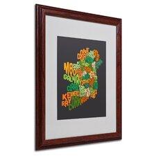 """""""Ireland Text Map 6"""" by Michael Tompsett Framed Textual Art"""