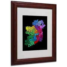 """Ireland Text Map 4"" Matted Framed Art"