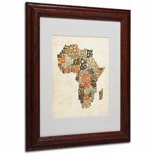 """""""Africa Text Map"""" by Michael Tompsett Framed Textual Art"""