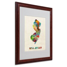 "<strong>Trademark Fine Art</strong> ""New Jersey Map"" Matted Framed Art"