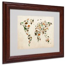 "<strong>Trademark Fine Art</strong> ""Dinosaur World Map 2"" Matted Framed Art"