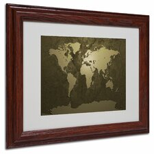 "<strong>Trademark Fine Art</strong> ""Gold World Map"" Matted Framed Art"