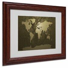 """""""Gold World Map"""" by Michael Tompsett Framed Graphic Art"""