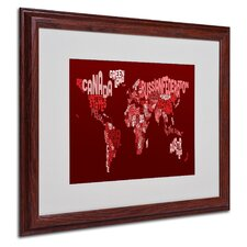 "<strong>Trademark Fine Art</strong> ""World Text Map 3"" Matted Framed Art"