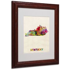"<strong>Trademark Fine Art</strong> ""Kentucky Map"" Matted Framed Art"