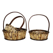 3 Piece River Cane Basket Set