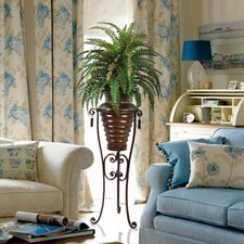 6' Silk Boston Fern Plant with Metal Planter and Stand