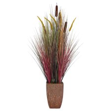 Tall Realistic Silk Contemporary Onion Grass Plant with Planter