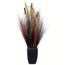 "48"" Silk Contemporary Onion Grass Plant with Planter"