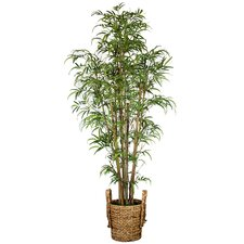 Tall Realistic Silk Bamboo Tree with Wicker Basket Planter