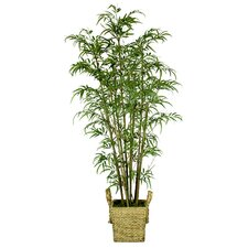 Tall Realistic Silk Bamboo Tree in Basket