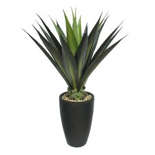 Tall High End Realistic Silk Giant Aloe Floor Plant in Planter