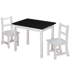 Kiddy 3 Piece Rectangle Table and Chair Set (Chalkboard Top)