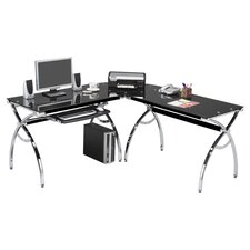 L Shaped Glass Computer Desk with Chrome Frame