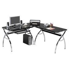 L Shaped Glass Computer Desk