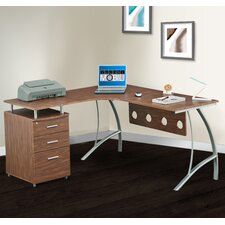 Corner Desk with File Cabinet and Privacy Panel