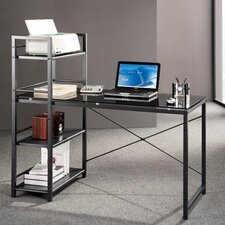 Glass Top Computer Desk with 4 Shelf Metal Bookcase