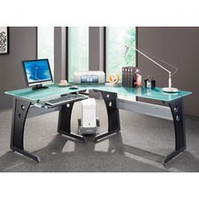 Graphite & Frosted Glass L-Shaped Computer Desk with PC Caddy