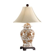 "Nutmeg Temple Jar 35"" H Table Lamp with Bell Shade"