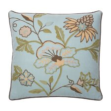 Mill Valley Cotton Crewel Embroidered Decorative Pillow
