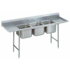"T-9 Series 109"" x 31"" 3 Compartment Scullery Sink"
