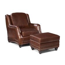 Mitchell Leather Arm Chair and Ottoman